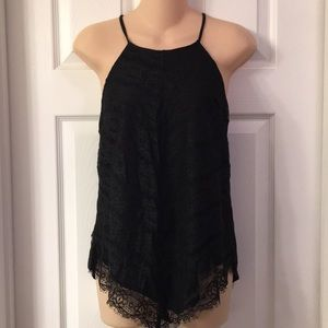 Juniors black lace overlay top Small